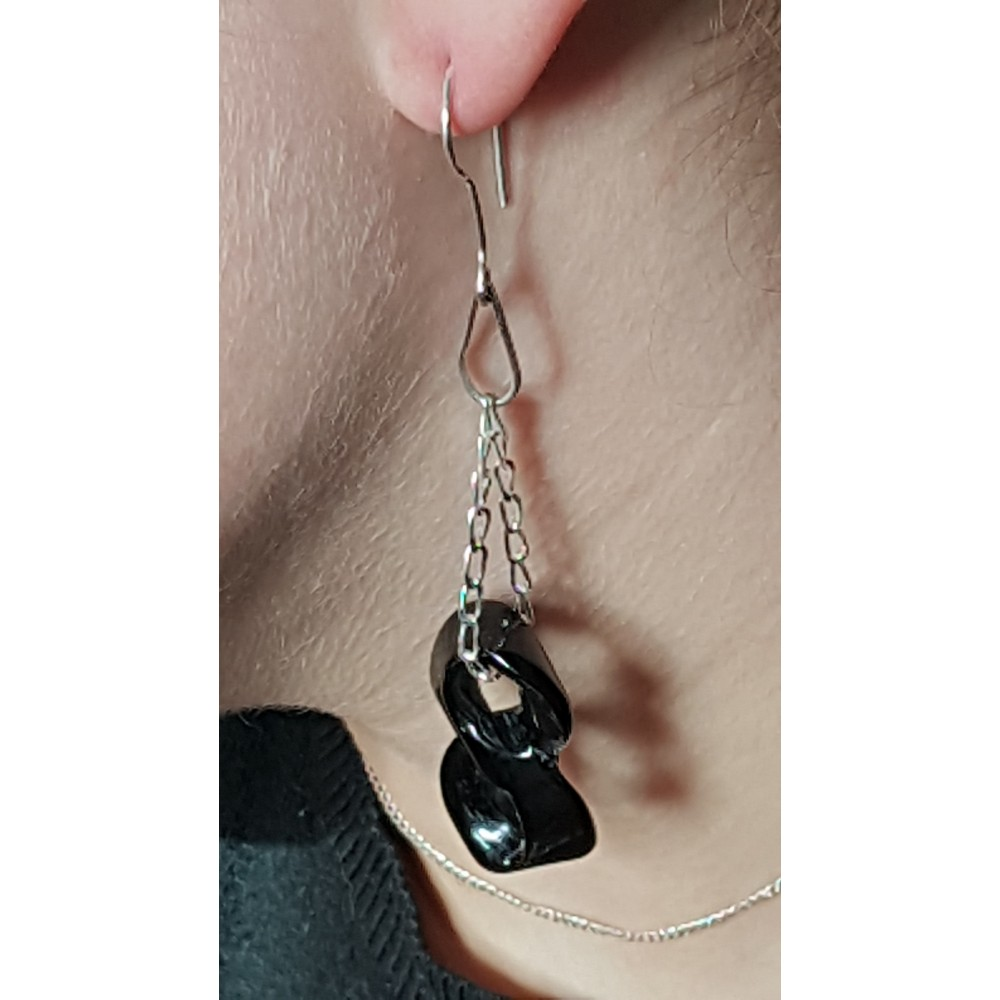 Sterling silver earrings with natural agate stones Black Infinity