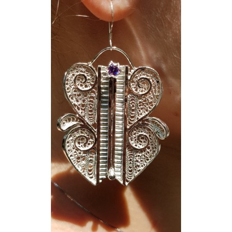 Silver earrings and pure silver filigree and amethyst Loveology, Bijuterii de argint lucrate manual, handmade