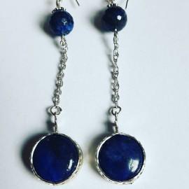 Sterling silver earrings with natural lapislazuli stones Blue Spices, Bijuterii de argint lucrate manual, handmade