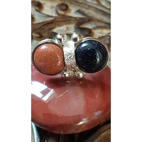 Sterling silver ring with natural goldstone, Love Smootie, Bijuterii de argint lucrate manual, handmade