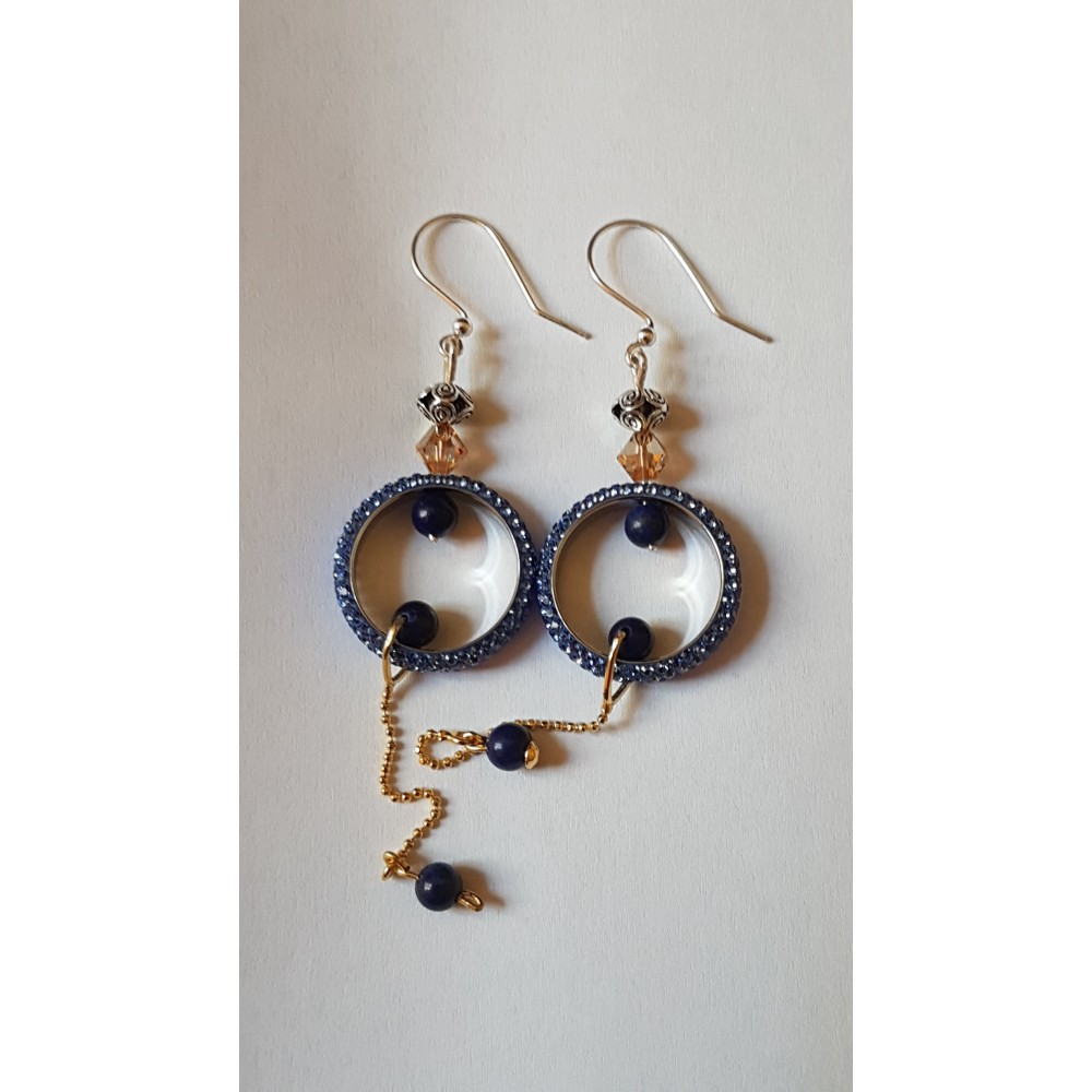 Sterling silver earrings with natural lapislazuli stones Love Sways