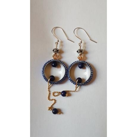 Sterling silver earrings with natural lapislazuli stones Love Sways, Bijuterii de argint lucrate manual, handmade