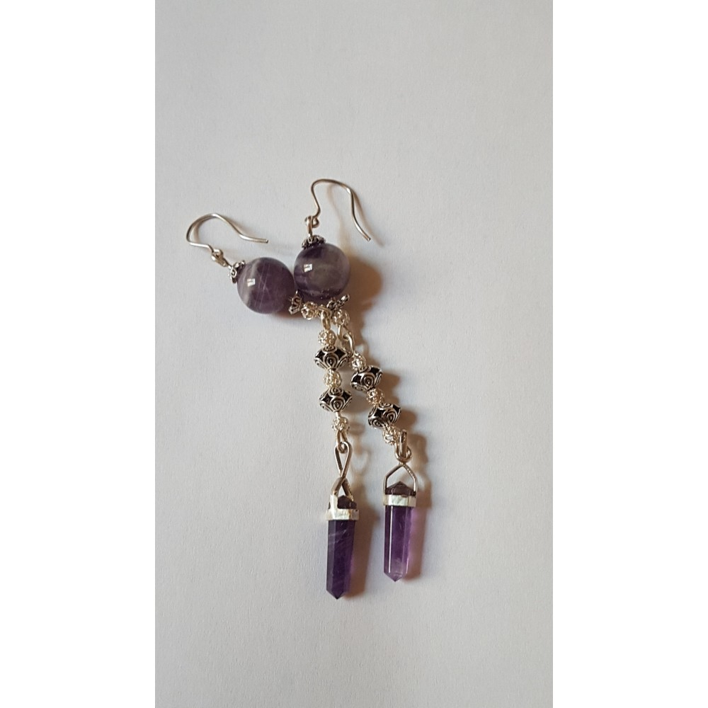 Sterling silver earrings with natural amethyst stones Amethyst Kiss