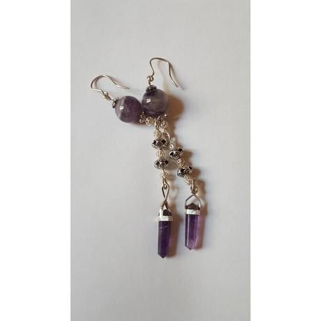 Sterling silver earrings with natural amethyst stones Amethyst Kiss, Bijuterii de argint lucrate manual, handmade