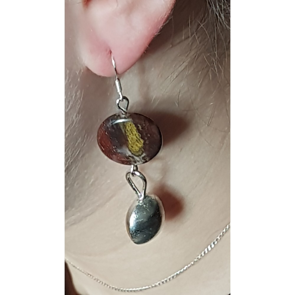 Sterling silver earrings with natural  jasper stones Jaspers Relish