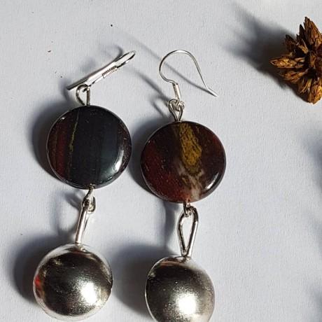 Sterling silver earrings with natural  jasper stones Jaspers Relish, Bijuterii de argint lucrate manual, handmade