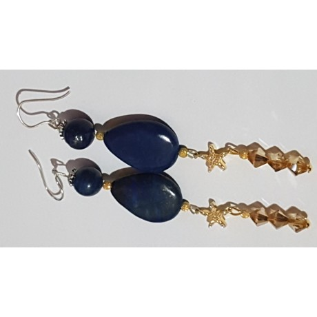 Sterling silver earrings with natural  lapislazuli stones Bluish Dazzle, Bijuterii de argint lucrate manual, handmade