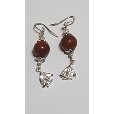 Sterling silver earrings with natural goldstone Brightful Sails, Bijuterii de argint lucrate manual, handmade