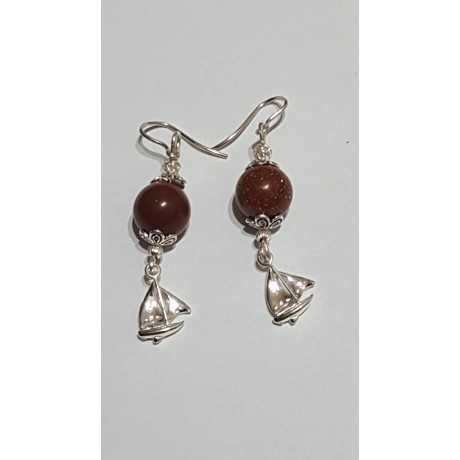 Sterling silver earrings with natural goldstone Brightful Sails, Bijuterii de argint lucrate manual, handmade