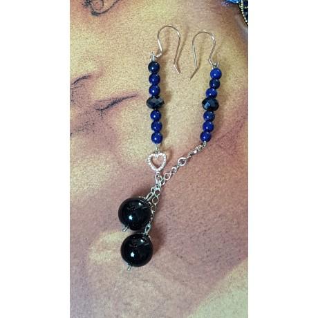 Sterling silver earrings with natural  lapislazuli stones Bluish Hearted, Bijuterii de argint lucrate manual, handmade