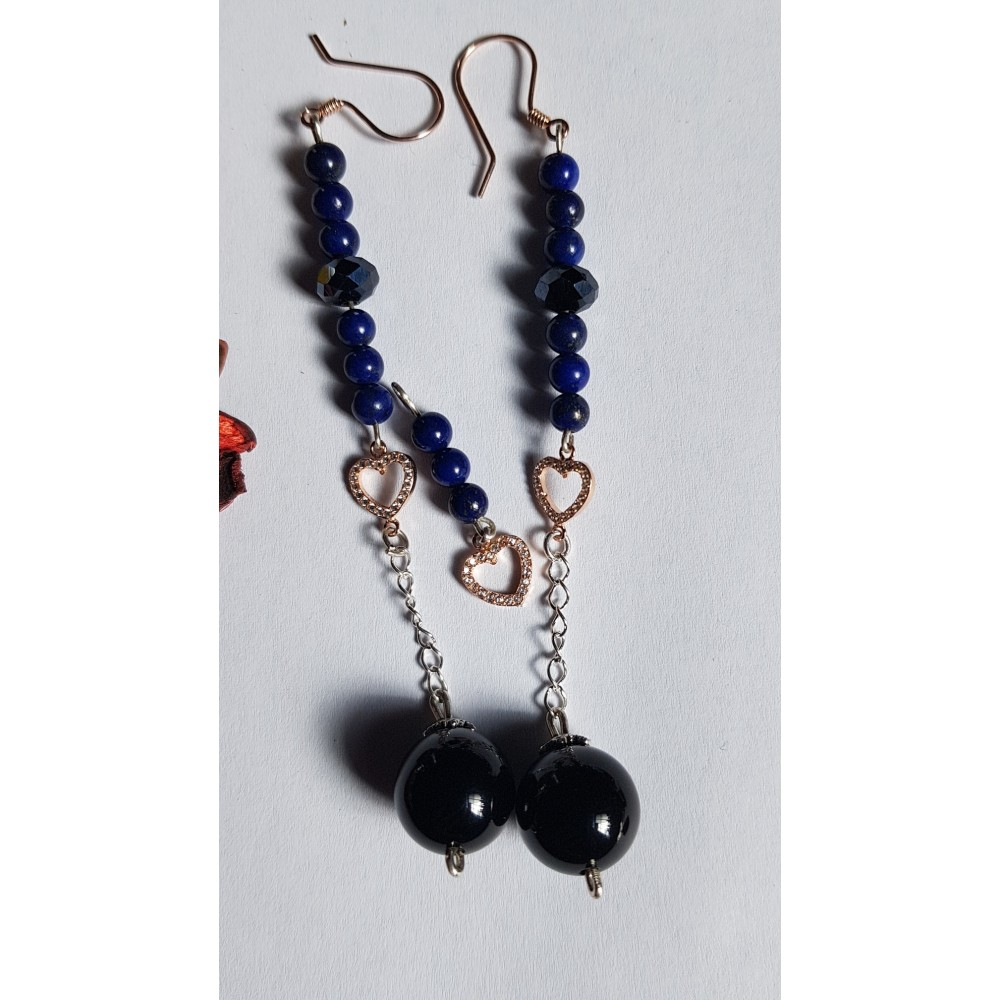 Sterling silver earrings with natural  lapislazuli stones Bluish Hearted