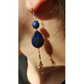 Sterling silver earrings with natural lapislazuli stones Blue Balm, Bijuterii de argint lucrate manual, handmade