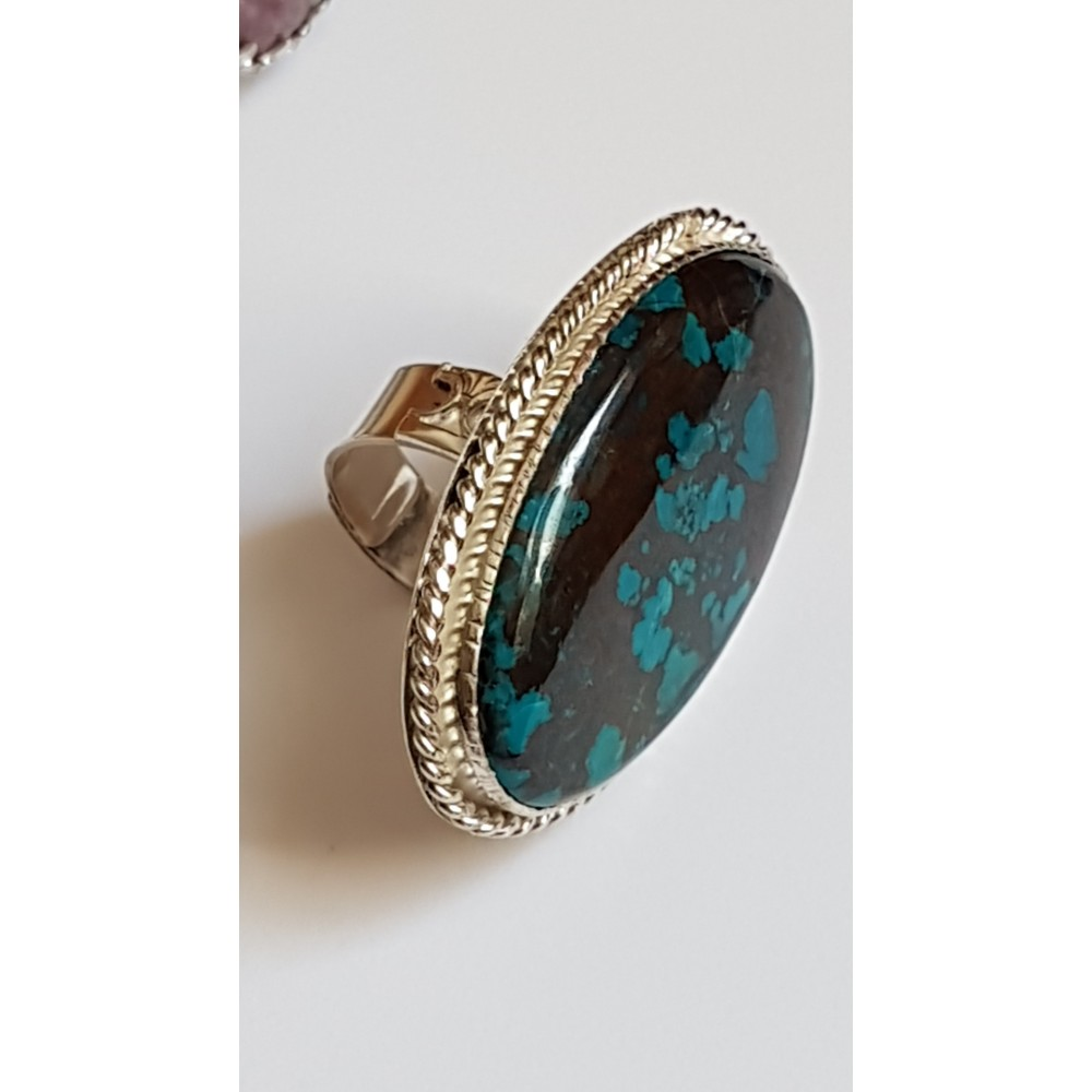 Large Sterling Silver ring with natural azurite Lush Tempers