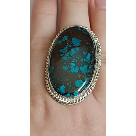 Large Sterling Silver ring with natural azurite Lush Tempers, Bijuterii de argint lucrate manual, handmade