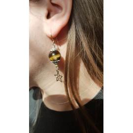 Sterling silver earrings with natural  tiger's eye stones, Bijuterii de argint lucrate manual, handmade
