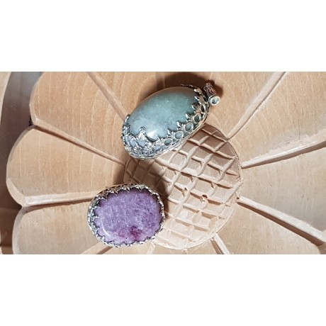 Sterling silver ring with natural lepidolite stone Mauve Gear, Bijuterii de argint lucrate manual, handmade
