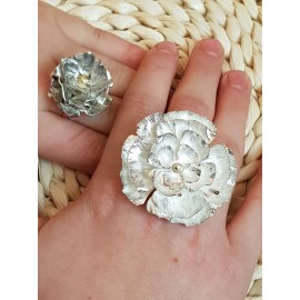 Large Sterling silver ring with 14k gold Flower Boost