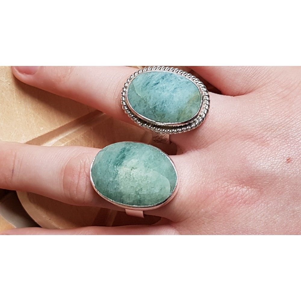 Sterling silver ring with natural aquamarine stone Green Genre