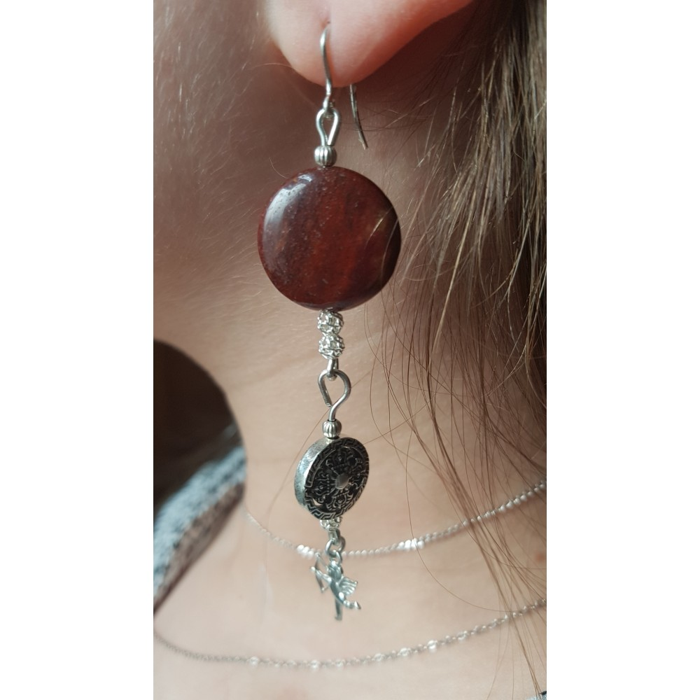 Sterling silver earrings with natural  jasper stones Archers in Love
