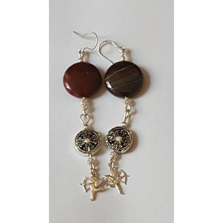 Sterling silver earrings with natural  jasper stones Archers in Love, Bijuterii de argint lucrate manual, handmade