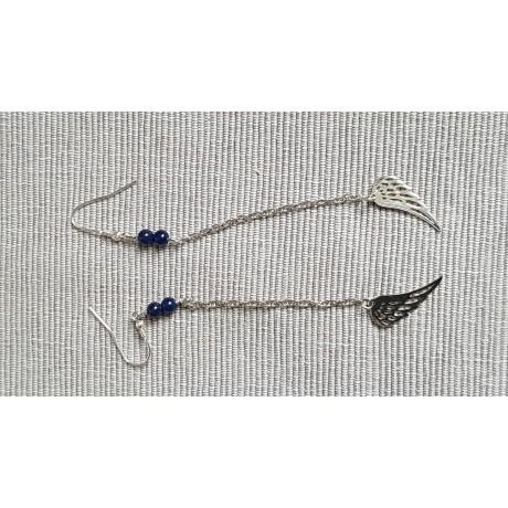 Sterling silver earrings with natural lapislazuli stones Blue Angels , Bijuterii de argint lucrate manual, handmade