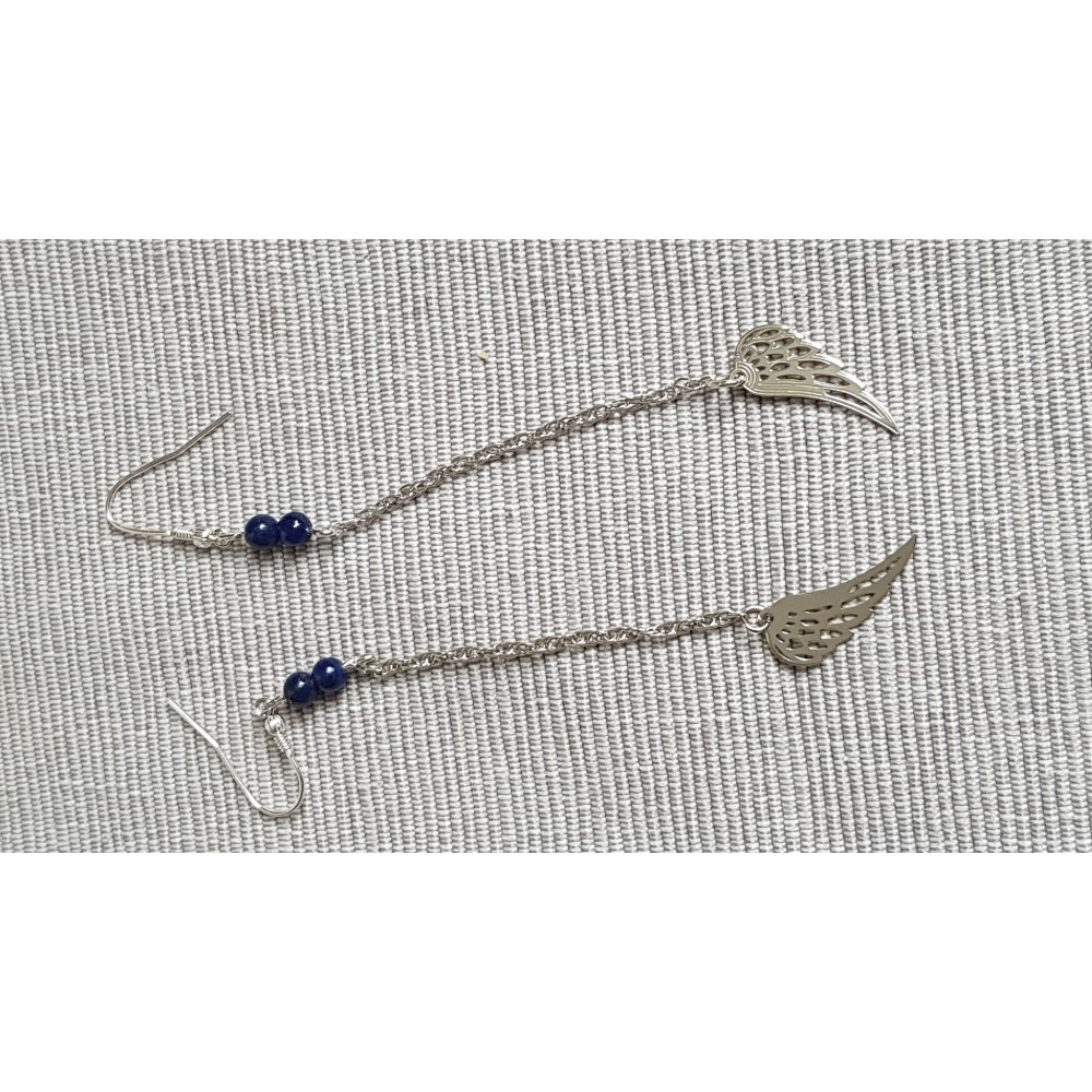 Sterling silver earrings with natural lapislazuli stones Blue Angels