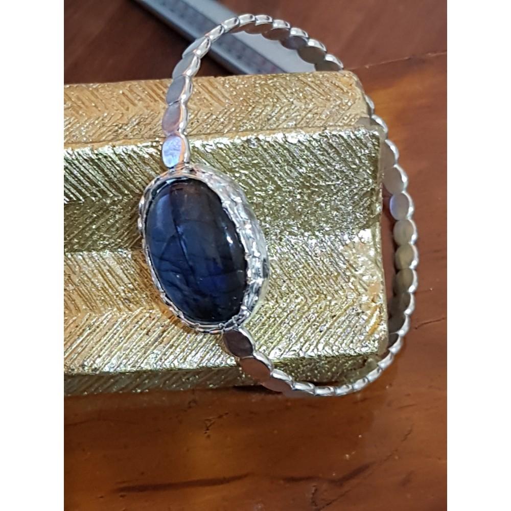 Massive Sterling silver bracelet  with natural labradorite stone