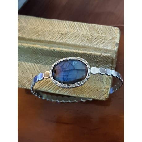 Massive Sterling silver bracelet  with natural labradorite stone, Bijuterii de argint lucrate manual, handmade