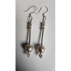 Sterling silver earrings Globes, Bijuterii de argint lucrate manual, handmade