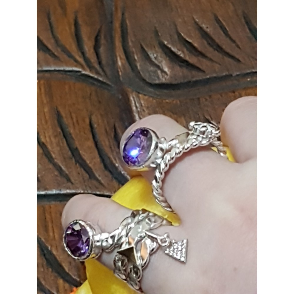 Sterling silver ring with gold and amethyst stone