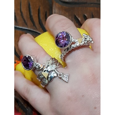 Sterling silver ring with gold and amethyst stone, Bijuterii de argint lucrate manual, handmade