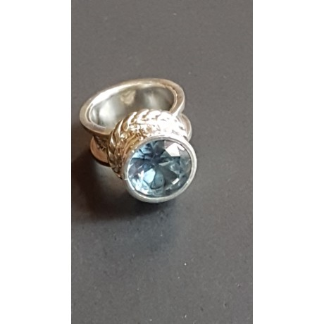 Large Sterling Silver ring with aquamarine stone,  Bluish Aura, Bijuterii de argint lucrate manual, handmade