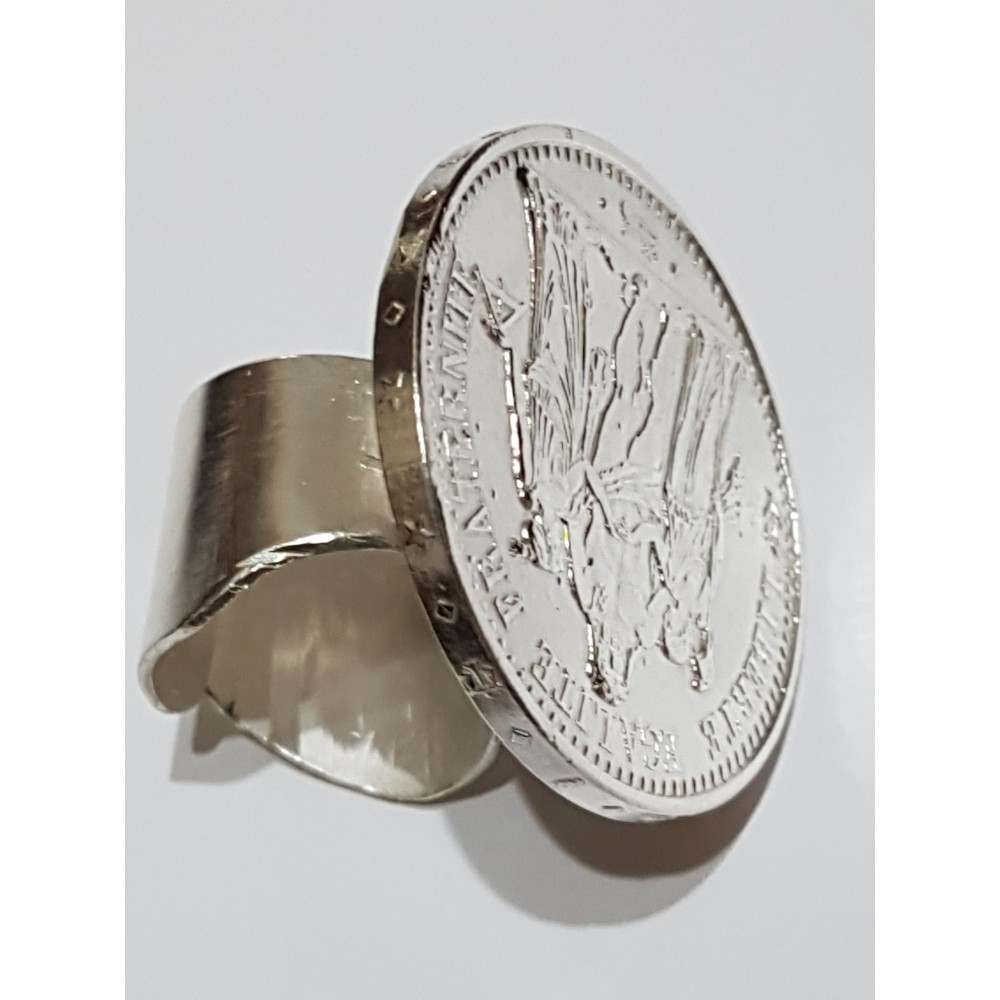 Large Sterling Silver ring Third coin