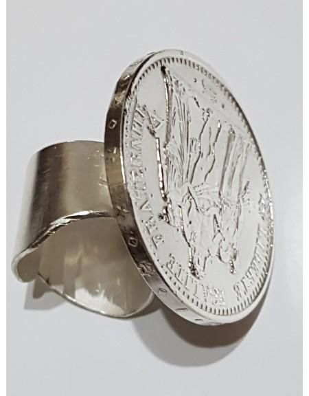 Inel UNICAT Ag925 masiv Thrird  Coin MARE, Bijuterii de argint lucrate manual, handmade