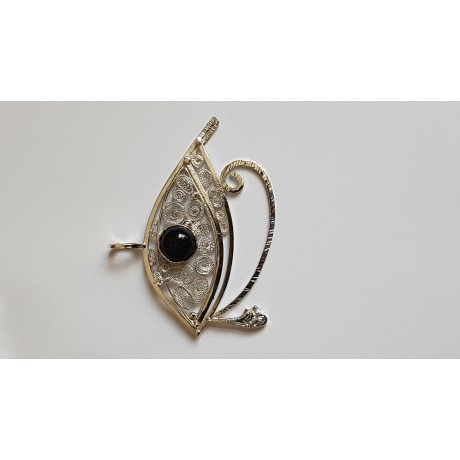 Sterling and pure silver filigree pendant Eye of Ra/Horus, Bijuterii de argint lucrate manual, handmade
