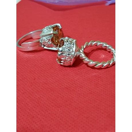 Inele Ag925 masiv cu citrine dalloz, Bijuterii de argint lucrate manual, handmade