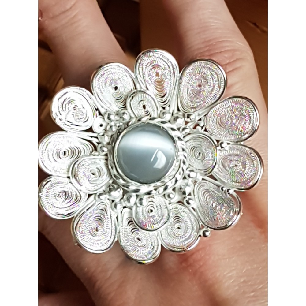 Large pure filigree &Sterling silver ring with natural cat's eye stone FLOWER SAGA