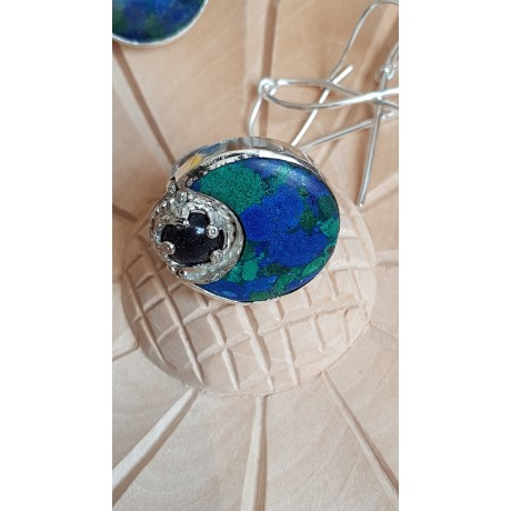 Large Sterling Silver ring with natural stones Gipsy Rave, Bijuterii de argint lucrate manual, handmade