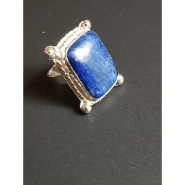 Sterling silver ring with natural lapislazuli Blue Rage