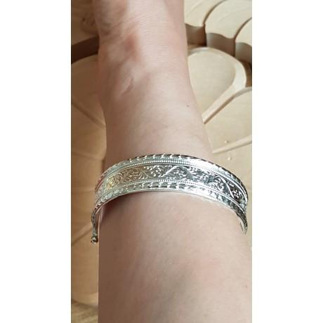 Sterling silver cuff Intricate, Bijuterii de argint lucrate manual, handmade