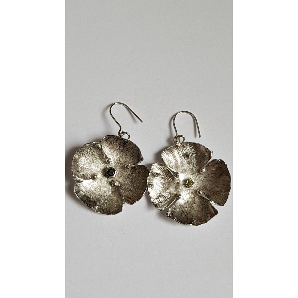 Sterling silver earrings with natural stones Flower Tease