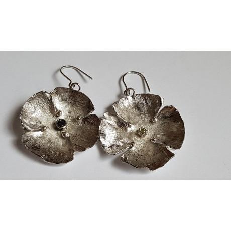 Sterling silver earrings with natural stones Flower Tease, Bijuterii de argint lucrate manual, handmade