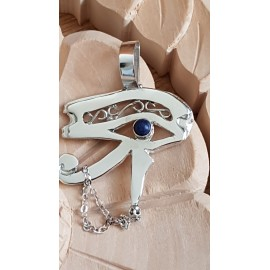 Large Sterling Silver pendant with natural lapislazuli Suited to Dilligence