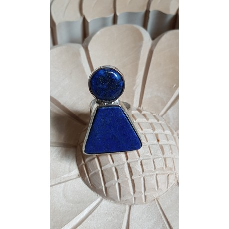 Sterling silver ring  with natural  lapislazuli stones Blue Darling, Bijuterii de argint lucrate manual, handmade