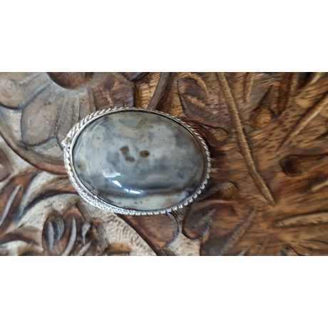 Large Sterling Silver ring with natural agate stone Height of Leissure, Bijuterii de argint lucrate manual, handmade