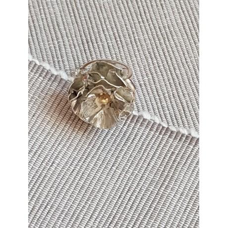 Sterling silver ring with 14k gold Flower Fire, Bijuterii de argint lucrate manual, handmade