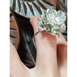 Sterling silver ring with 14k gold Flower Fire