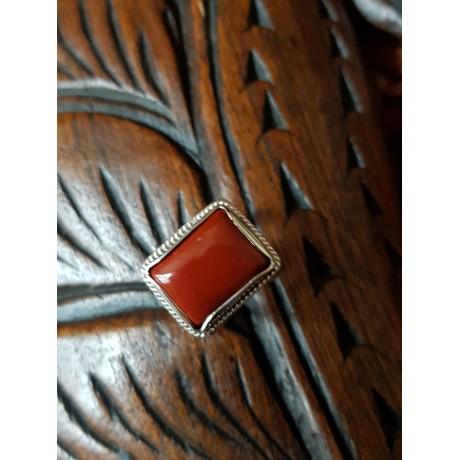 Sterling silver ring with natural red Jaspers, Bijuterii de argint lucrate manual, handmade