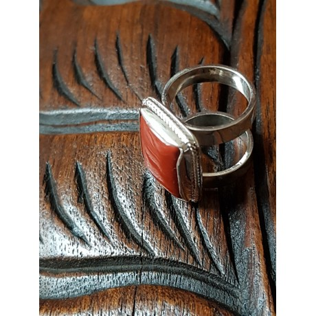 Sterling silver ring with natural red Jaspers, Bijuterii de argint lucrate manual, handmade