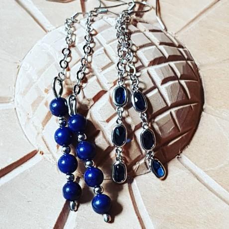 Sterling silver earrings with natural lapislazuli Blue Touches, Bijuterii de argint lucrate manual, handmade